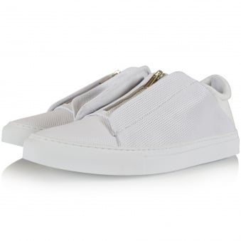 Ylati Footwear White Perforated Nerone Low Trainers