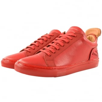Ylati Red Leather Amalfi Low Metal Bubble Trainers
